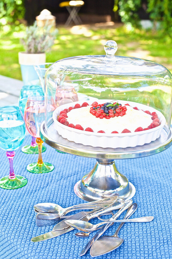 Summery berry cake on a garden table