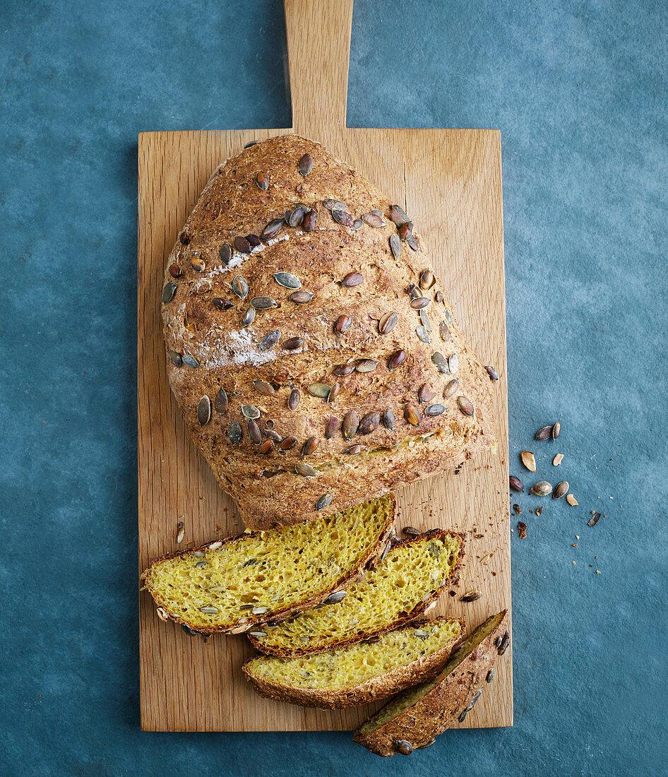 Pumpkin and wheat germ bread with yoghurt
