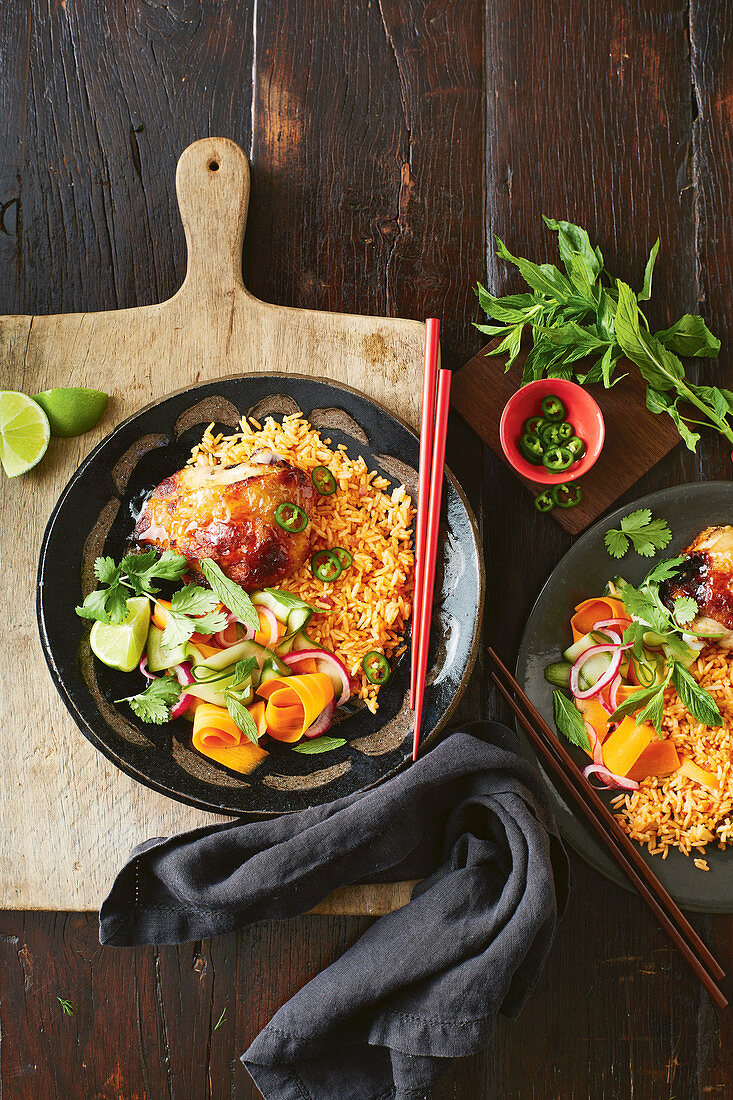 Vietnamese crispy chicken with pickled vegetables