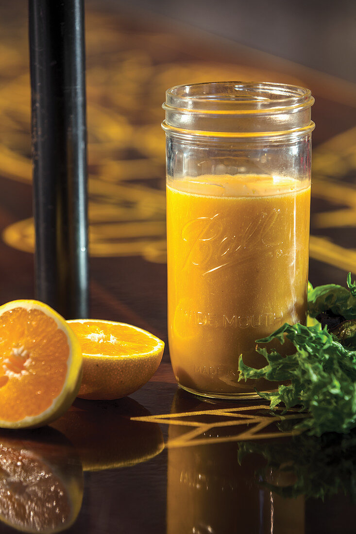 Citrus vinaigrette in a glass jar