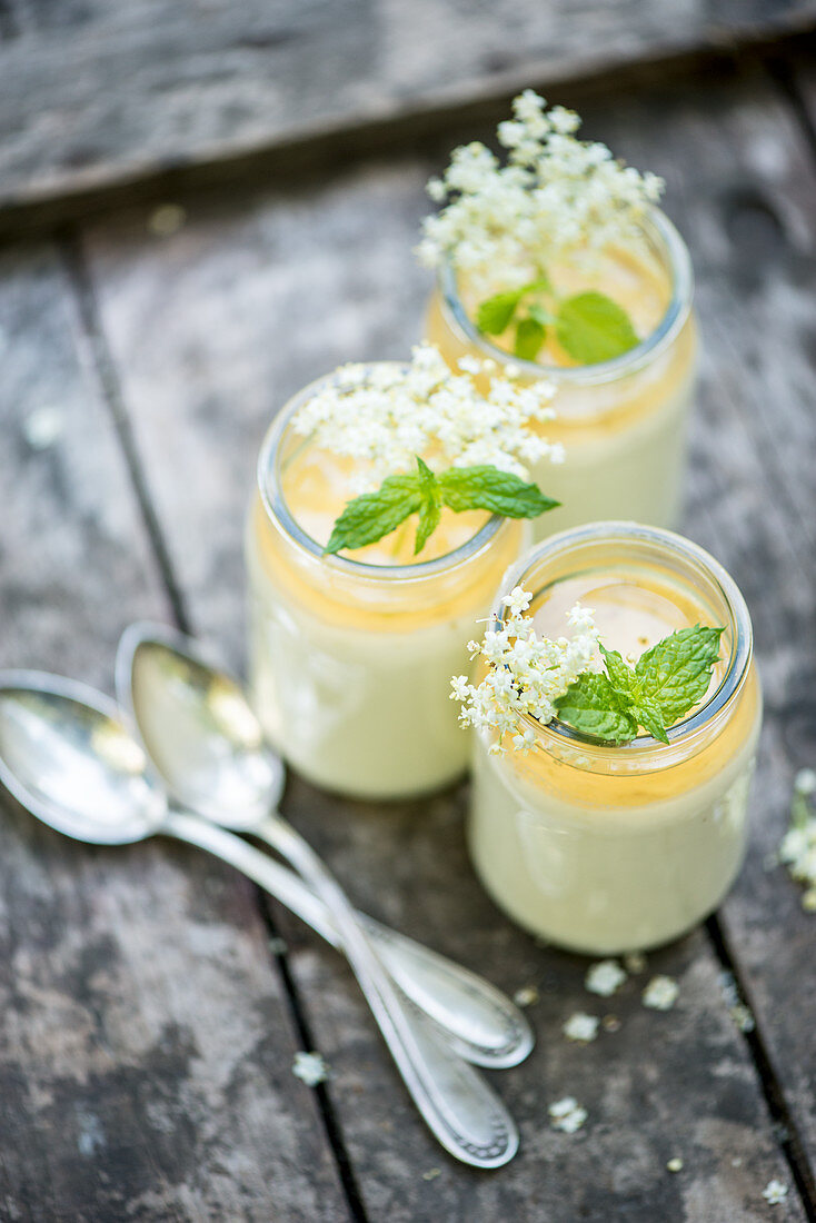 Elderflower panna cotta in glasses