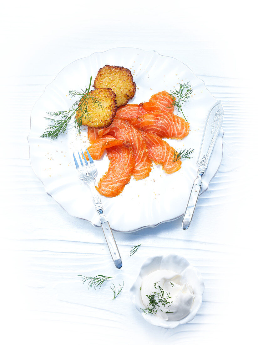 Pickled curry salmon with potato pancakes
