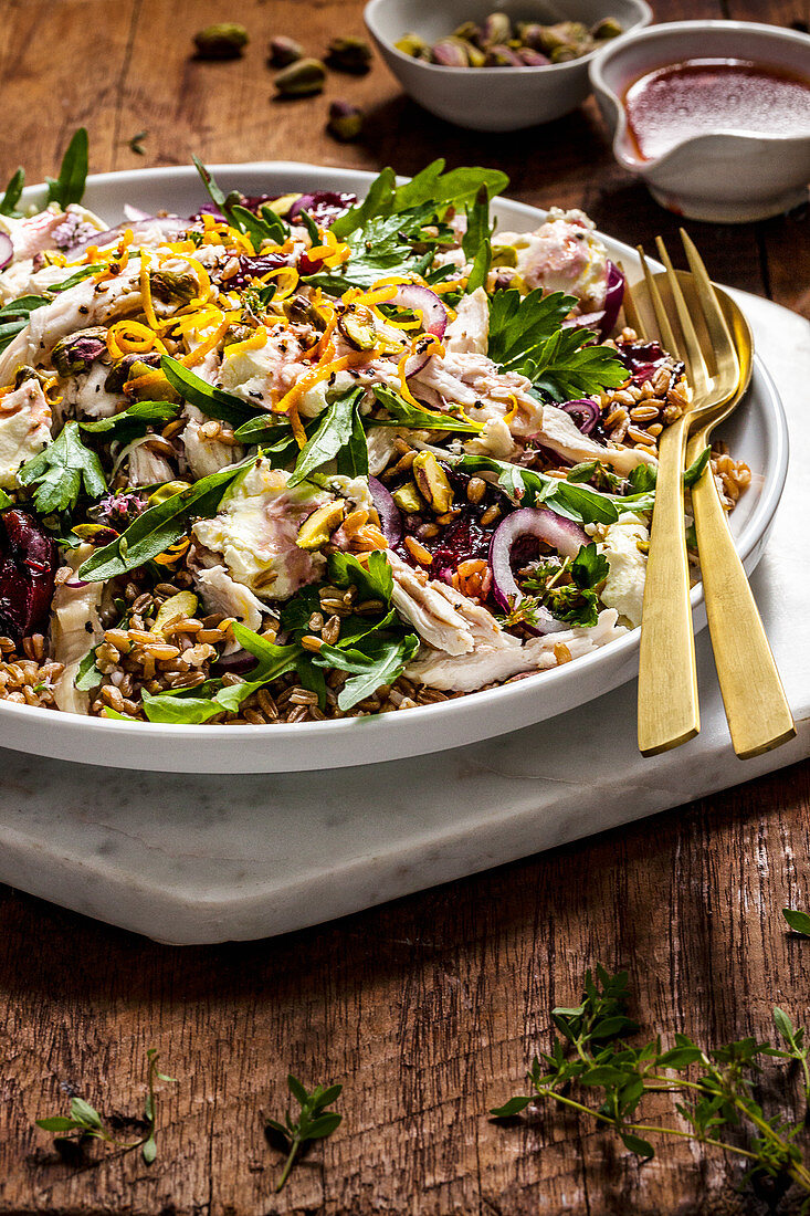 Chicken Salad with Labne, Roast Plums and Grains