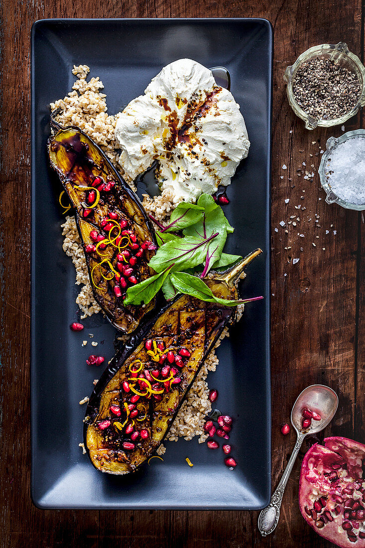 Roast eggplant with labne and pomegranate