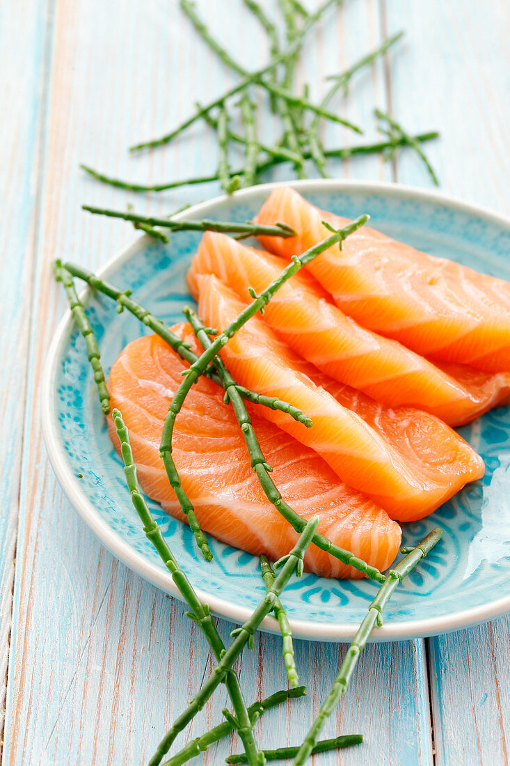 Fresh salmon steaks and saltwort on a plate