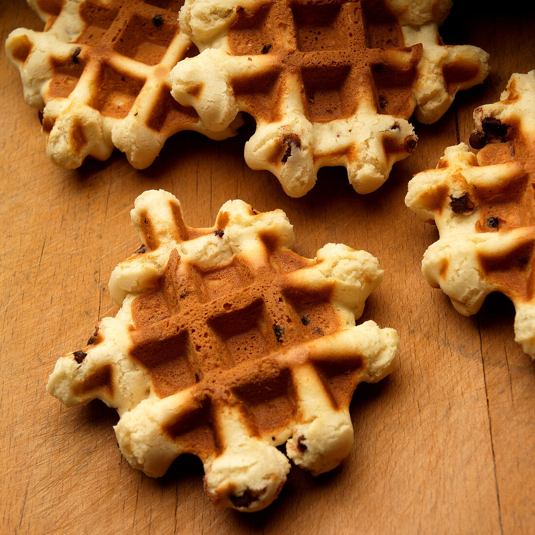 Home made Belgian waffles with chocolate chips