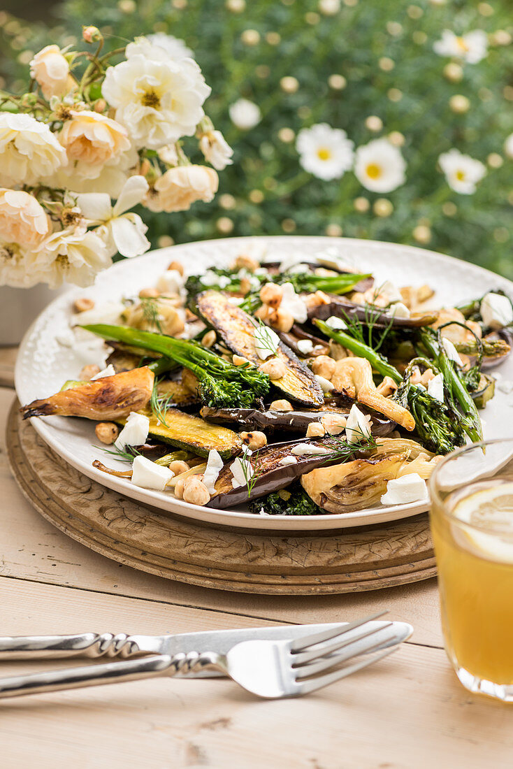 Honeyed vegetables with roasted hazelnuts and goat's cheese
