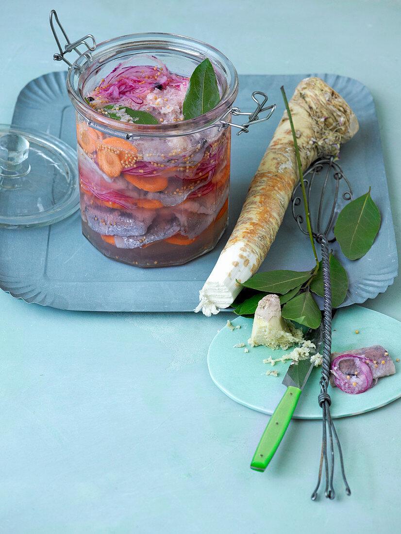 Norwegian herring with carrots and horseradish