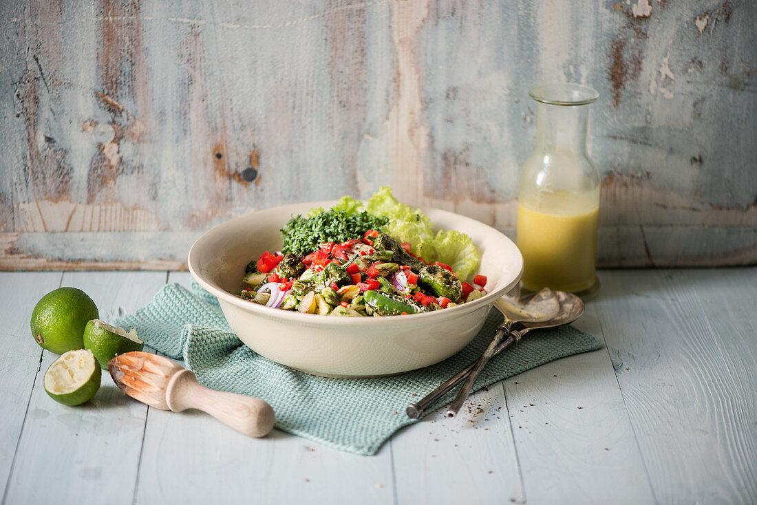 Warm asparagus salad with a dressing