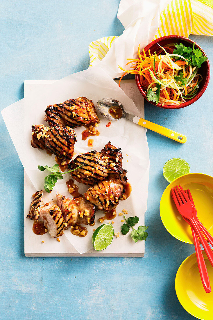 Chilli Plum chicken with asian coleslaw