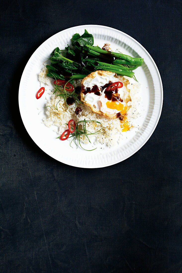 Chinese fried eggs with sticky ginger rice