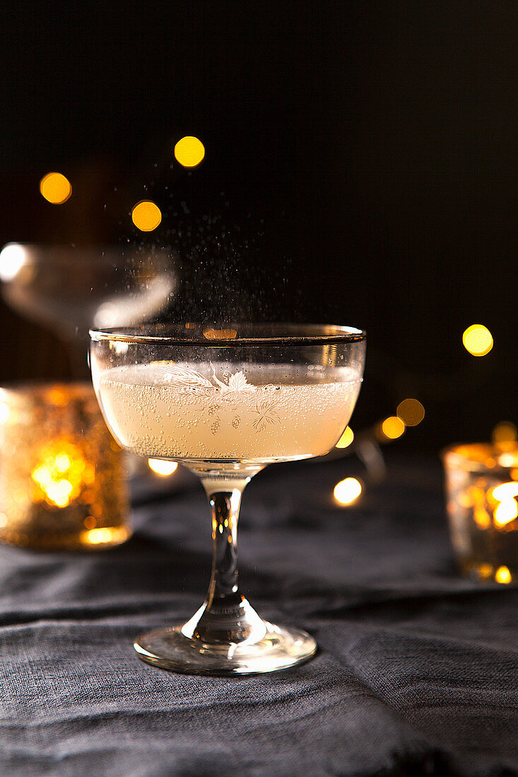 Sparkling prosecco in a cocktail glass
