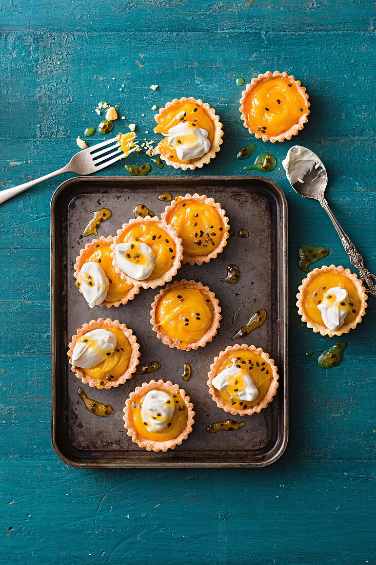 Lime and Passionfruit curd tartlets with toffee