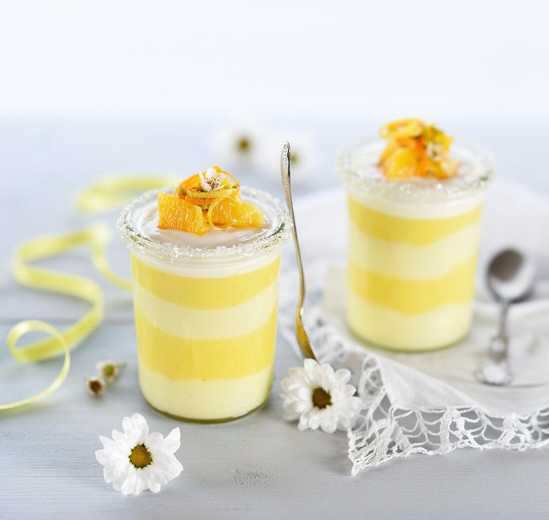 Orange and lemon cream in a glass (vegan)