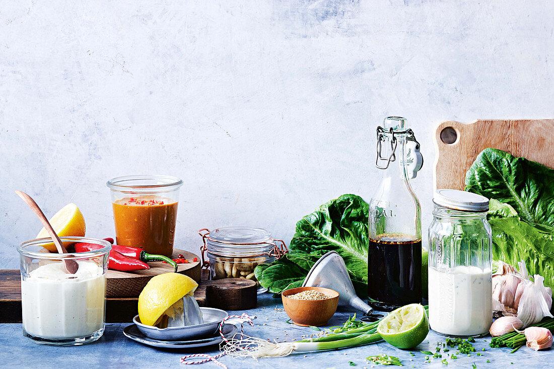 Egg-free mayonnaise - Allergy-friendly satay dressing - Gluten-free teriyaki dressing - Dairy-free ranch dressing