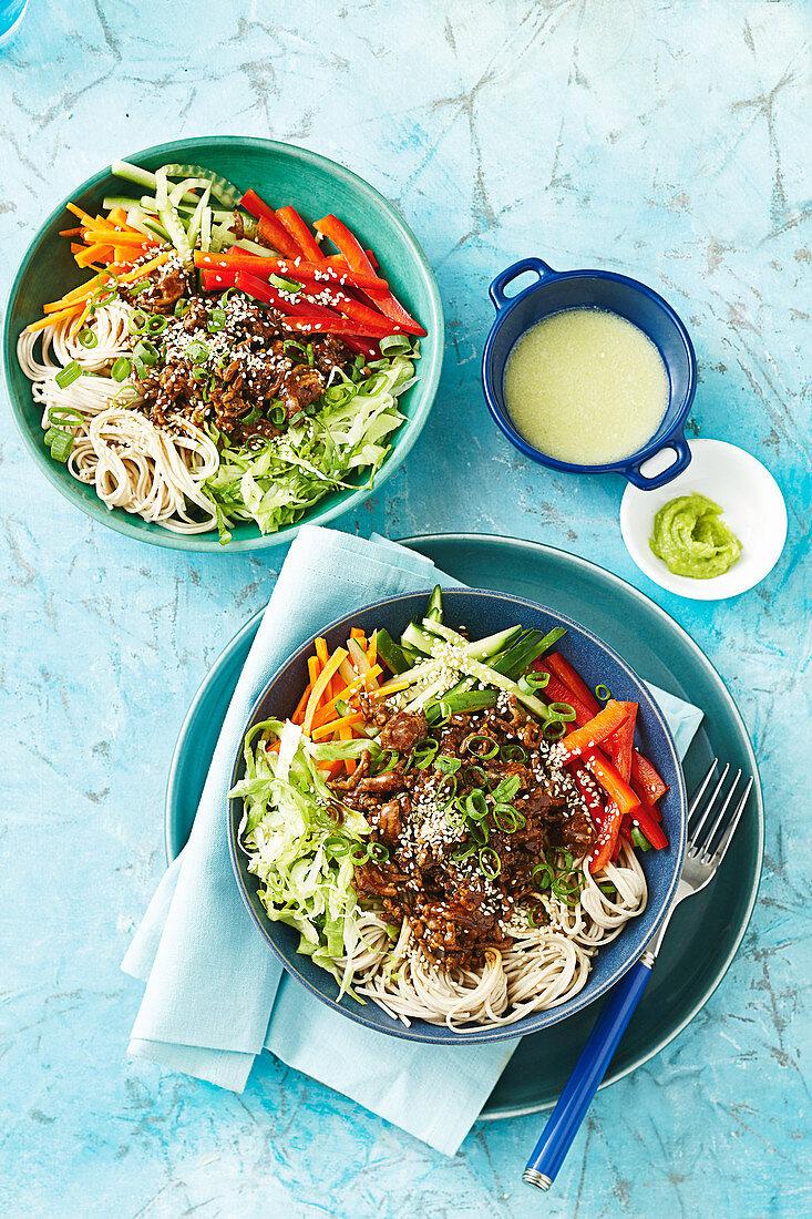 Teriyaki beef and soba noodle bowl