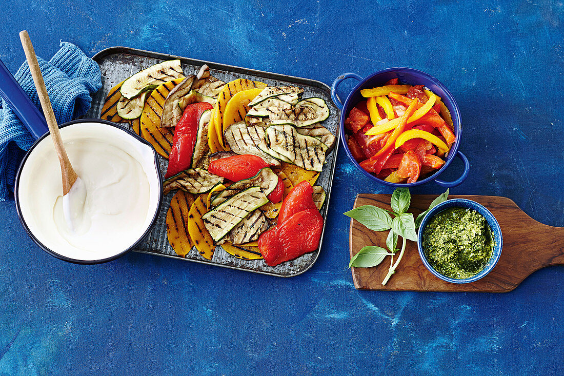 Vegetables with basil pesto and bechamel sauce