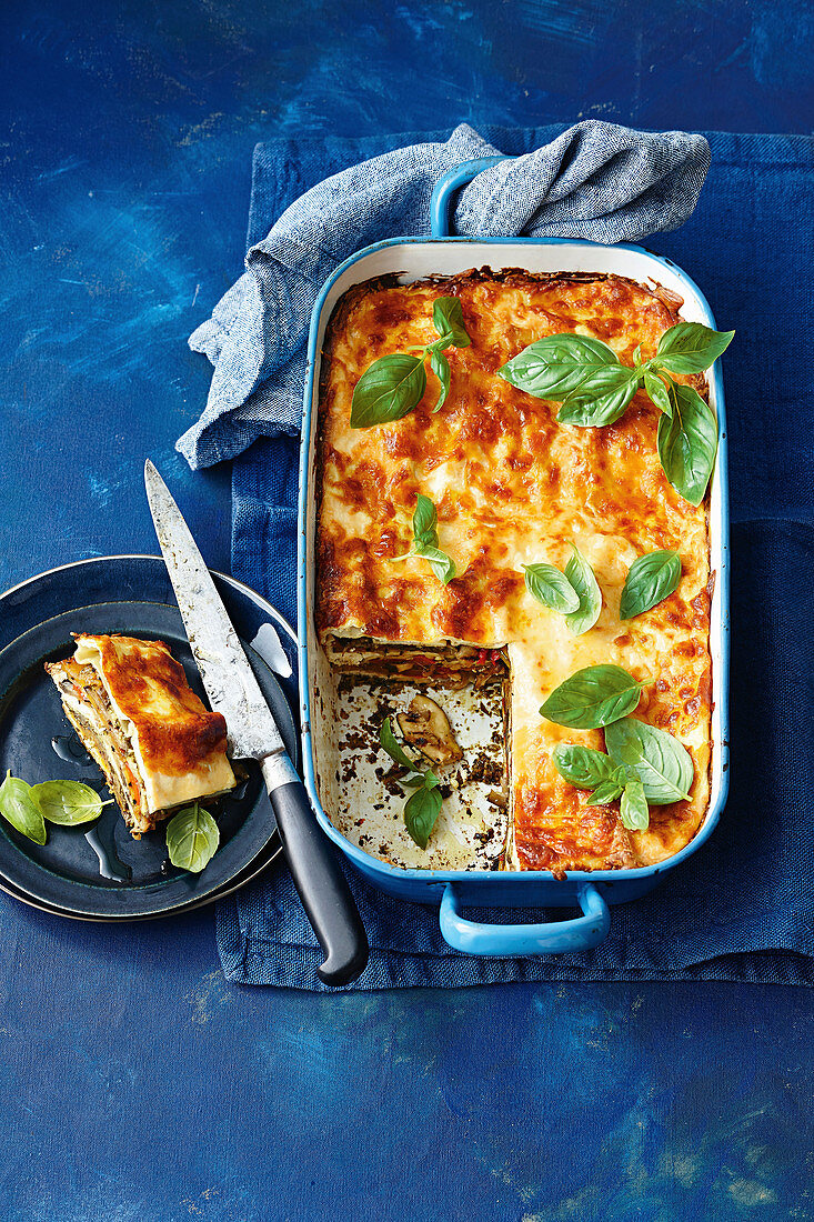Pesto, ricotta, and chargrilled vegatable lasagne