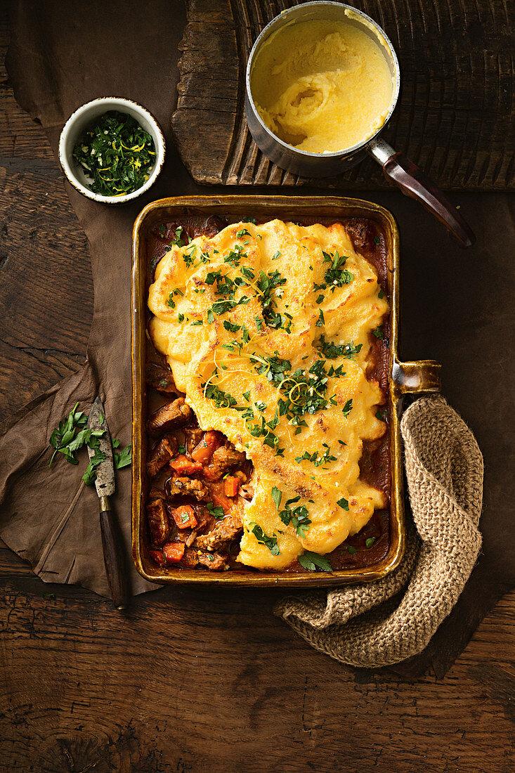 Osso bucco-style pie with polenta mash