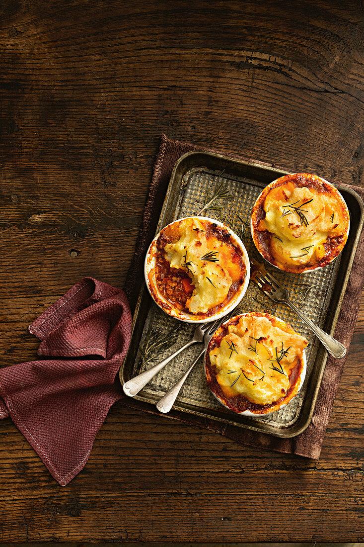 Lamb and Rosemary Shepard's Pies with Roasted Garlic Mash