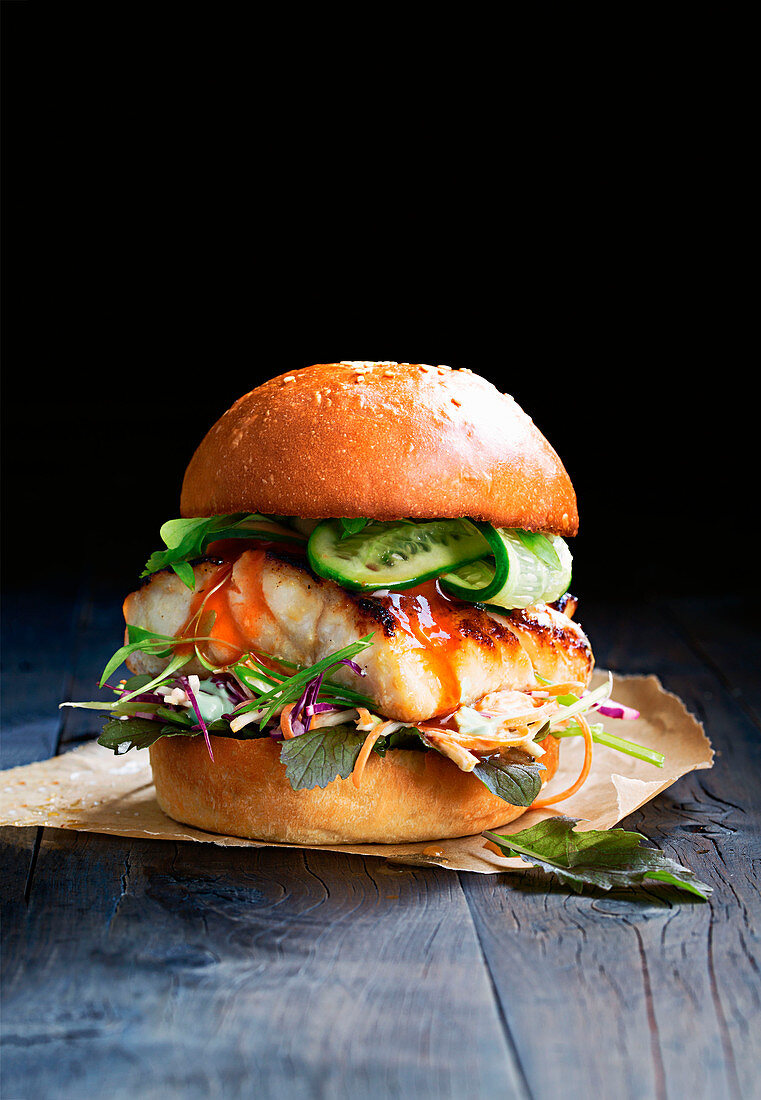 A miso fish burger with vegetables
