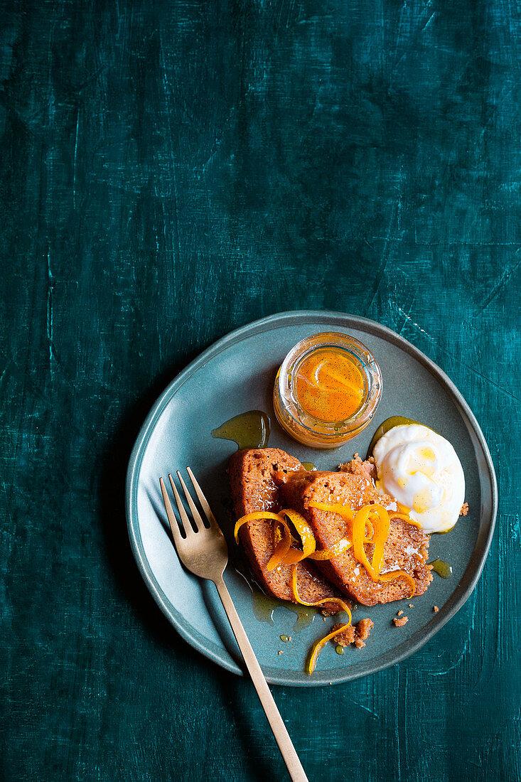 Orange and honey vanilla pudding