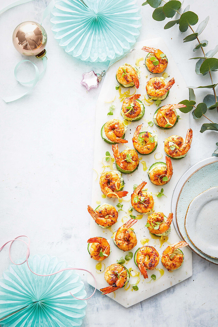 Barbecued paprika prawns with green goddess cream