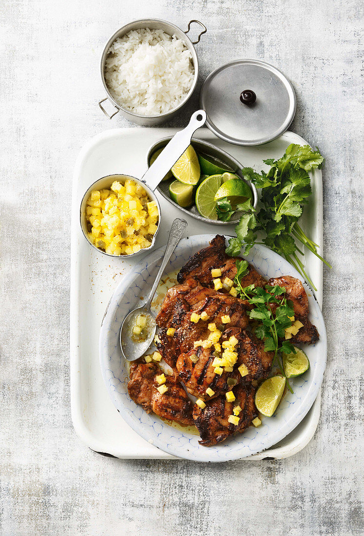 Jerk chicken with pineapple and coconut salsa