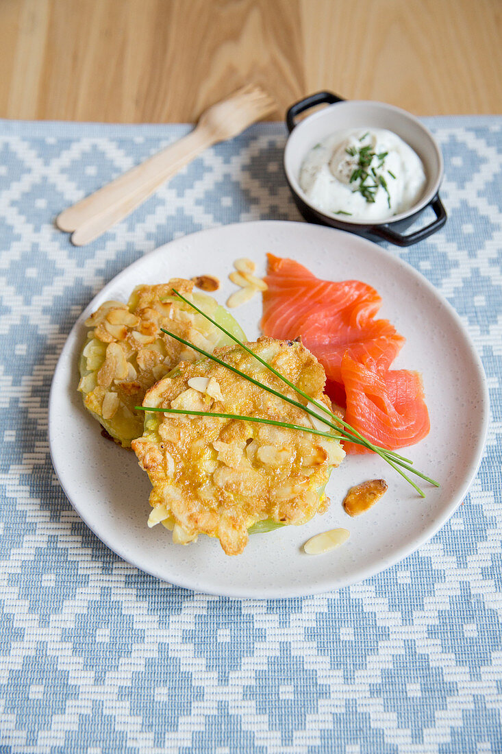 Celery and kohlrabi patties with smoked salmon