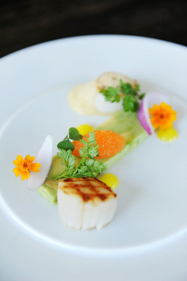 Grilled scallops with herbs and edible flowers