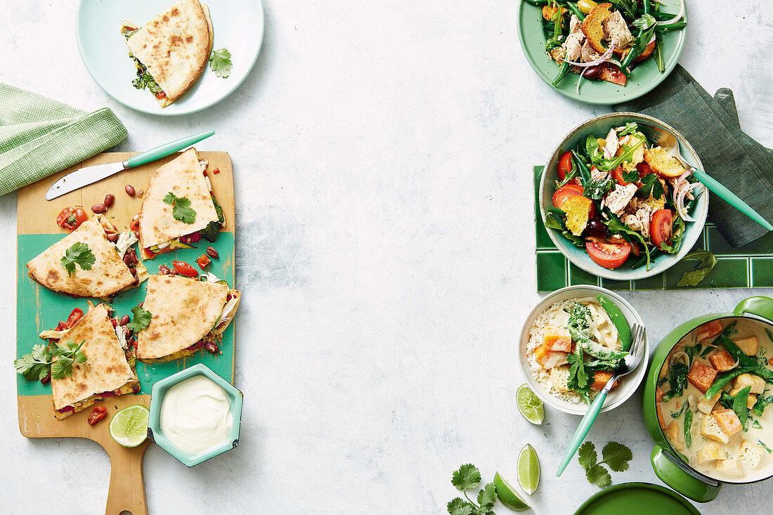 Chicken and mexi-bean quesadillas - Tuna panzanella salad - Tofu, sweet potato and broccolini green curry