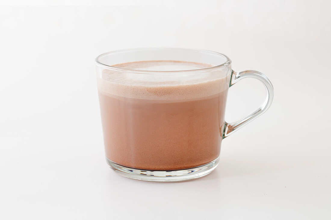 A glass of chamois milk with cocoa, tea and rum