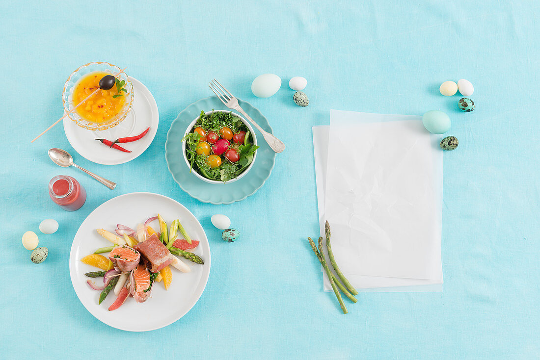 A three-course Easter menu with salmon wrapped in bacon, a mango martini and salad with cherry tomatoes