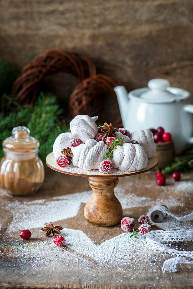 Cranberry spiced Russian style marshmallow zefir