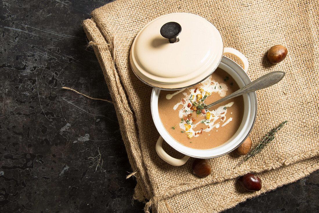 Cream of chestnut soup in a saucepan