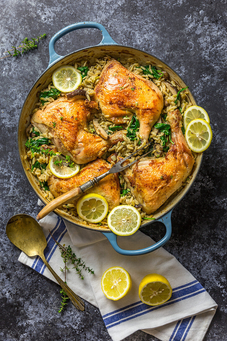 Chicken with Lemon and Spinach Orzo