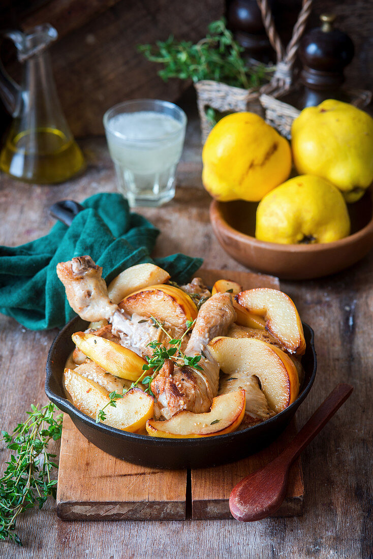 Chicken with quince and cider