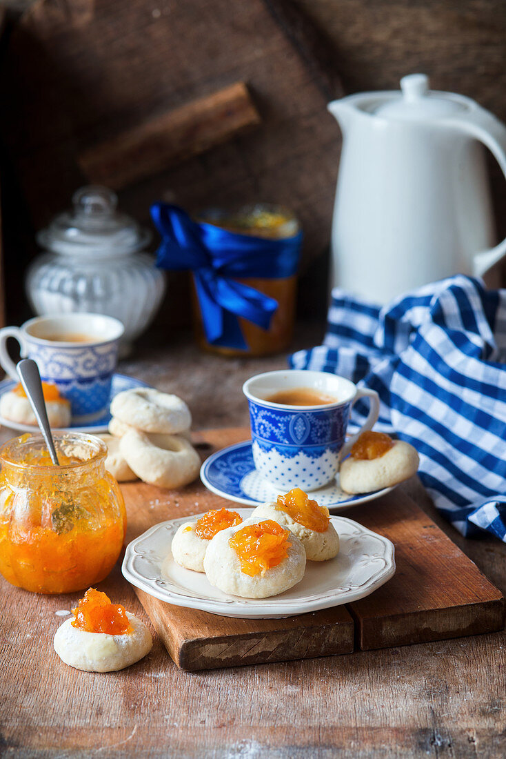 Marmalade thumbprint cookies with coffee