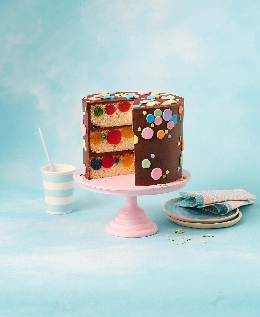 Polka dot devils food cake