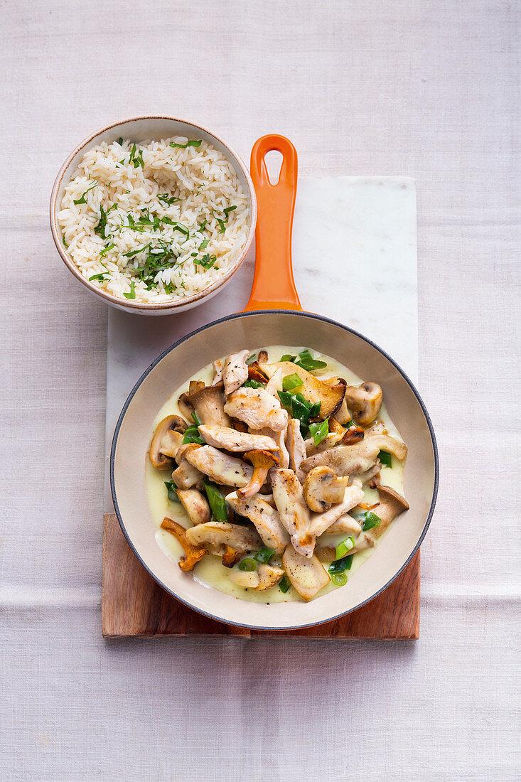 Sliced chicken and mushrooms
