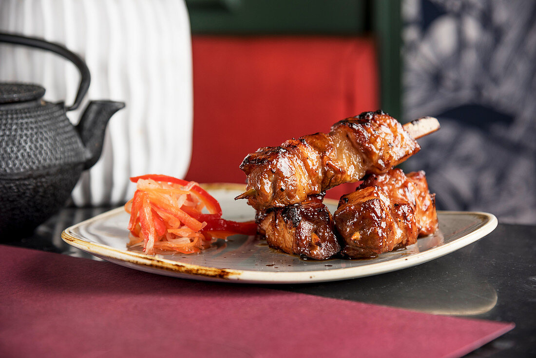 Filipino style pork skewer in a BBQ marinade