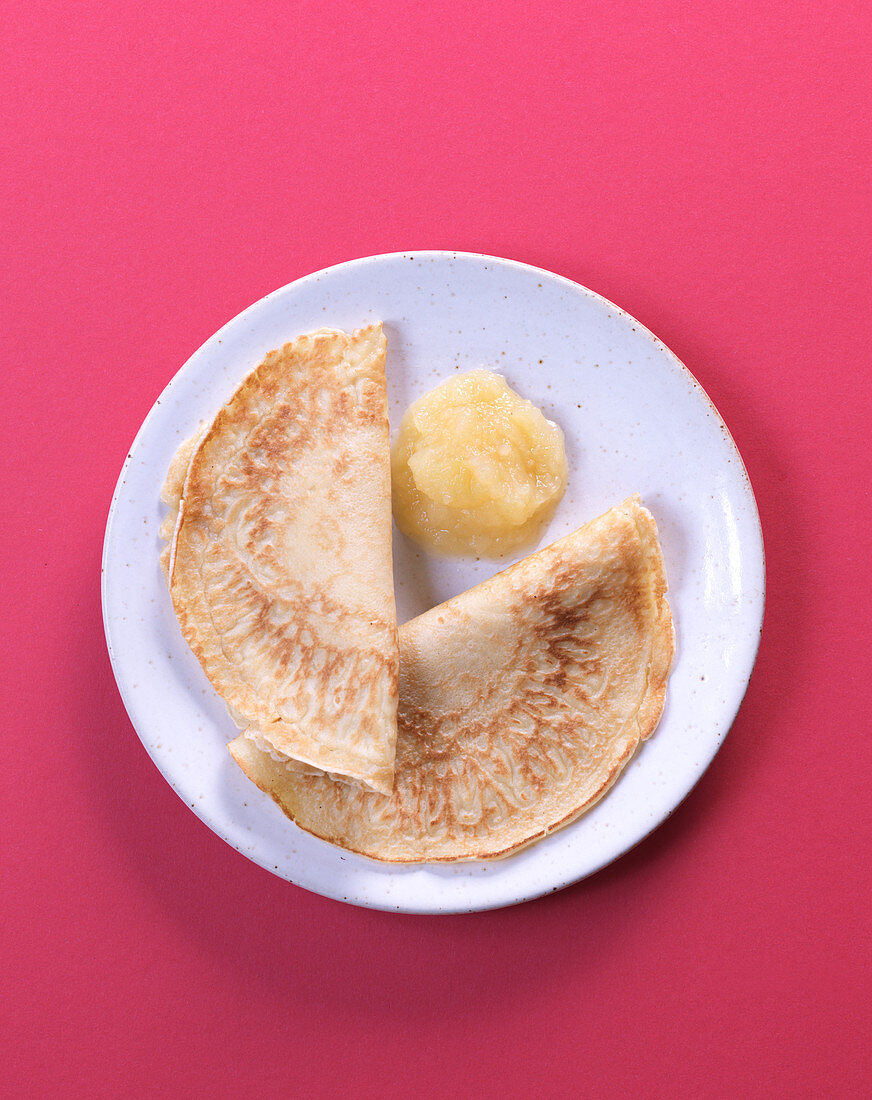 Pancake with apple sauce