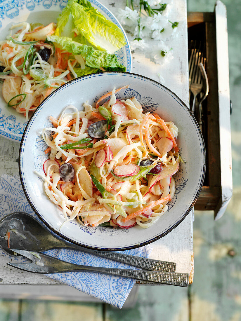 A summery coleslaw with fruit