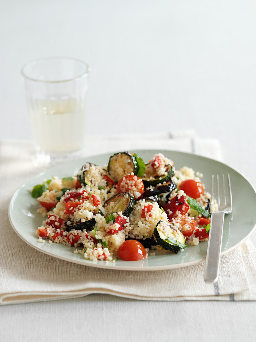 Couscous salad with eggplants and zucchini