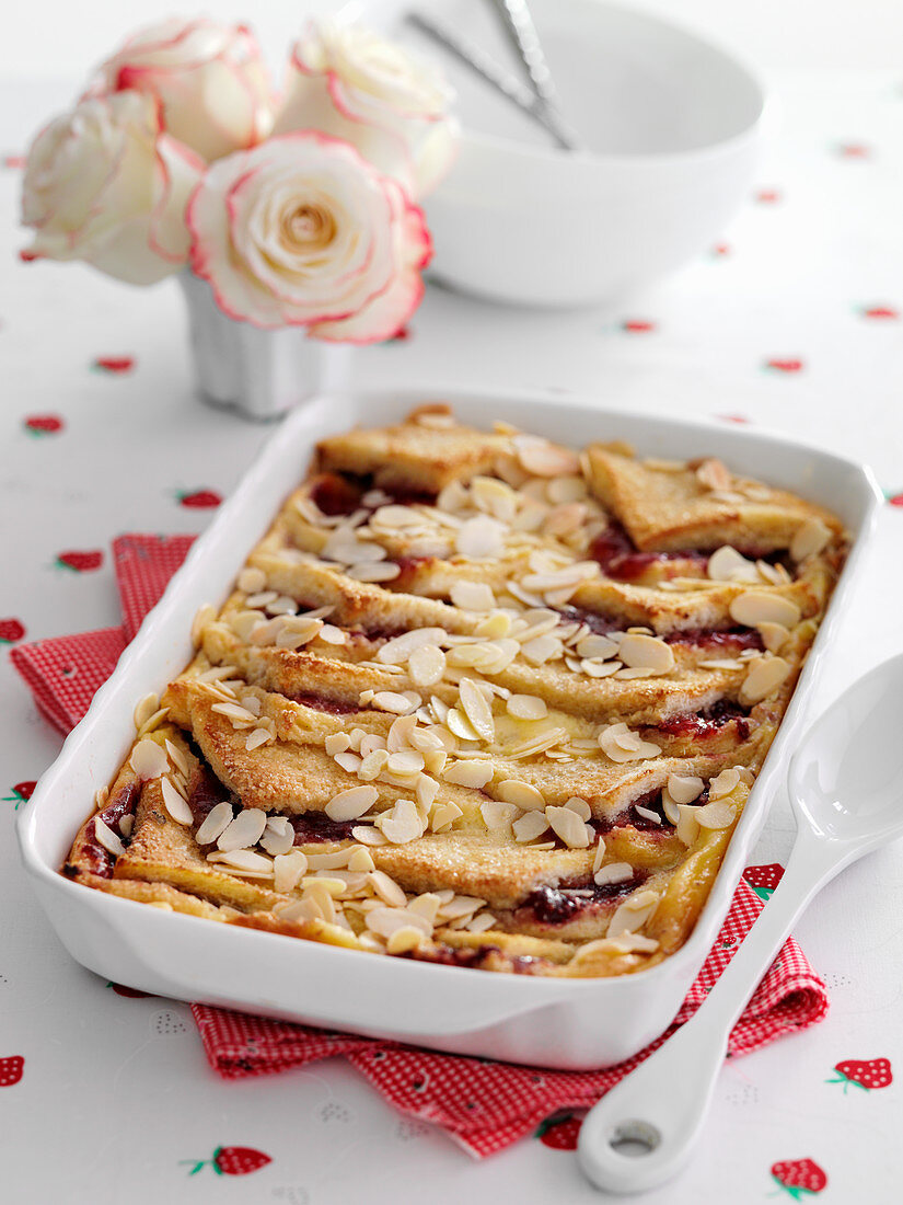 Bread and butter pudding with almond flakes (England)