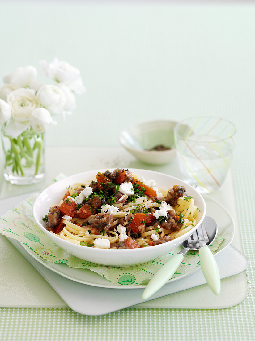Pasta Norma with aubergines and feta