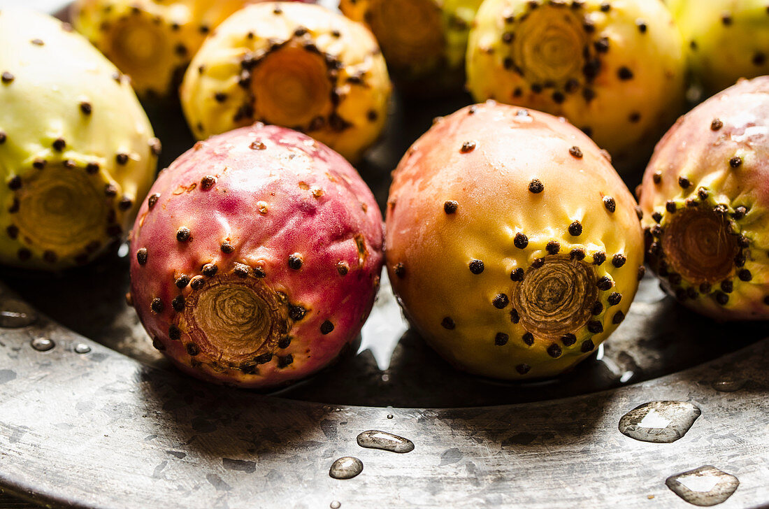 Prickly pears on metal plate (Indian figs)