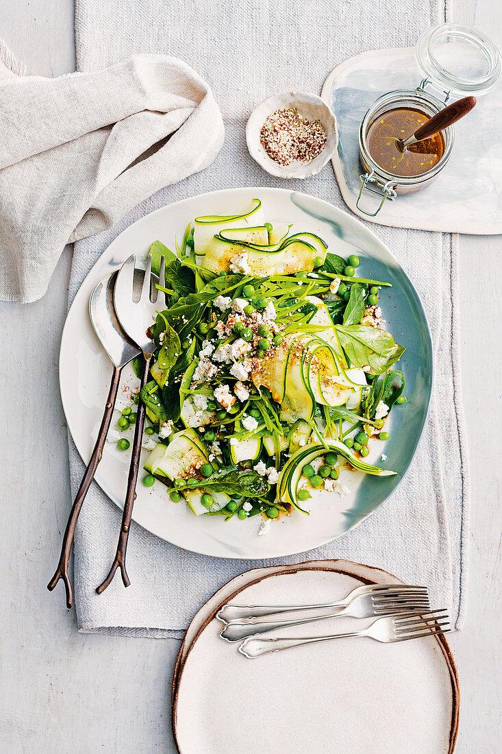 Zucchini, pea and fetta salad