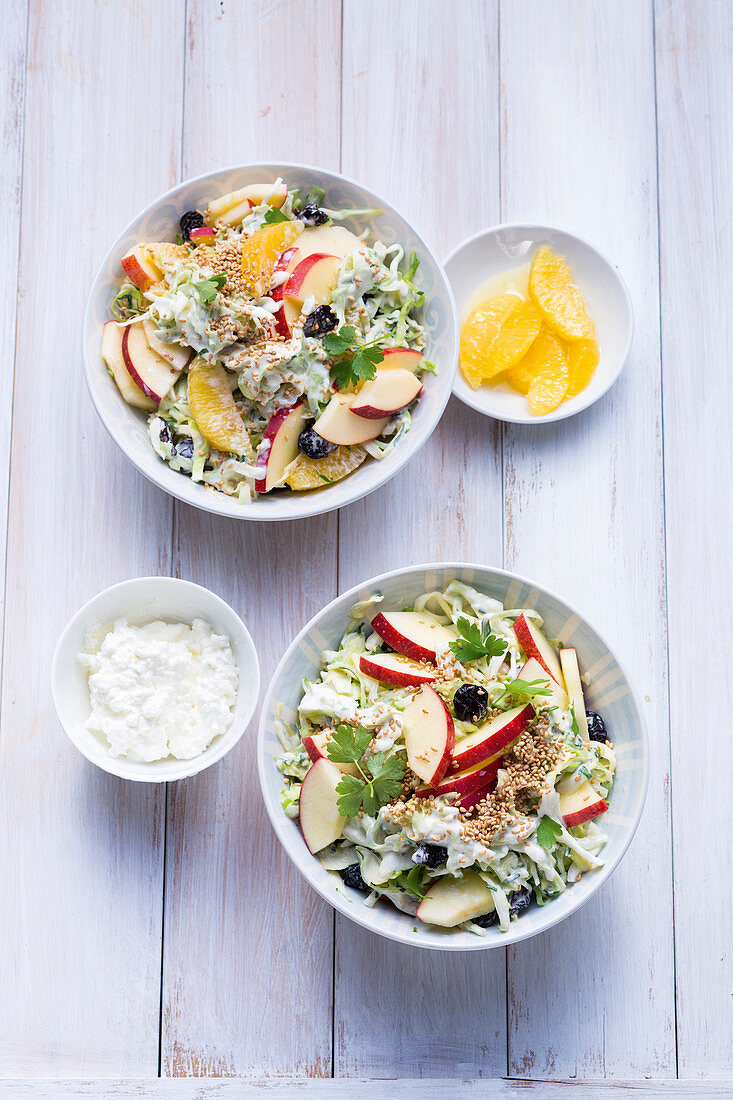 Pointed cabbage coleslaw two ways