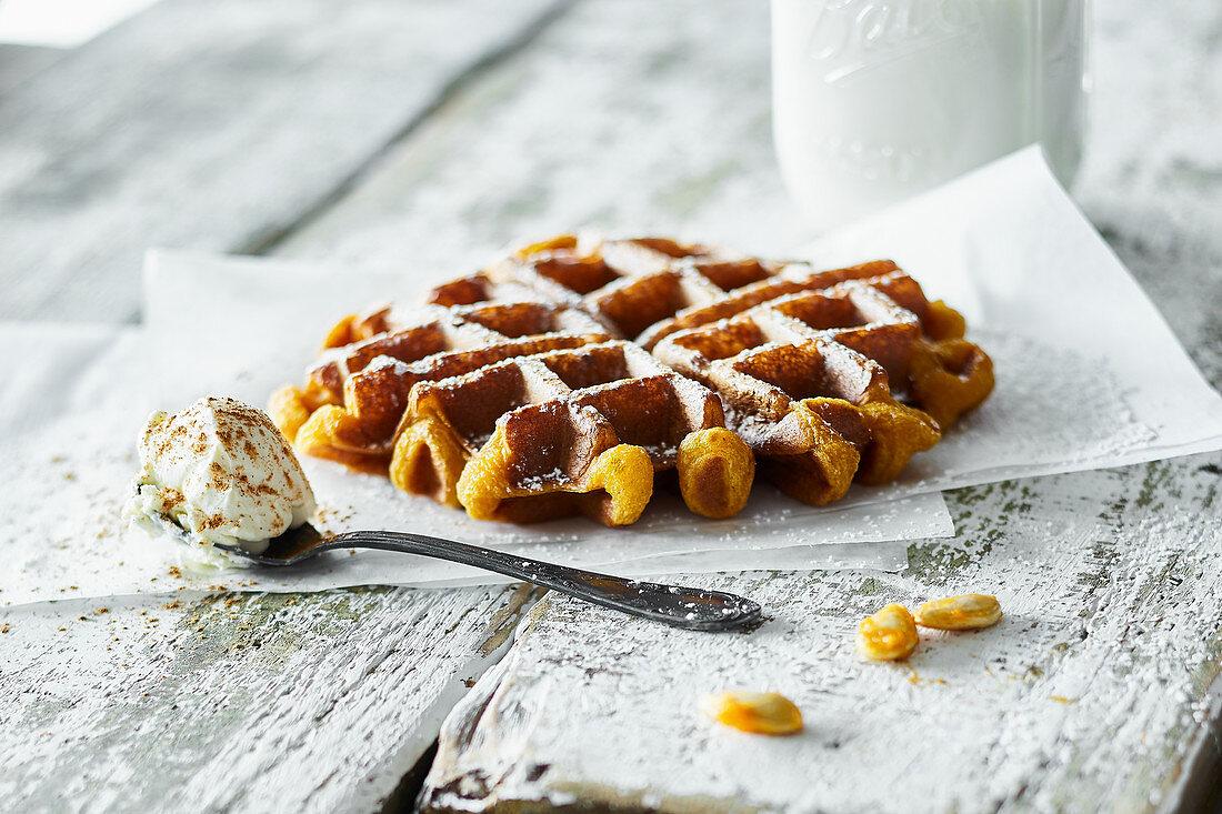 Belgian pumpkin waffles with cinnamon mascarpone